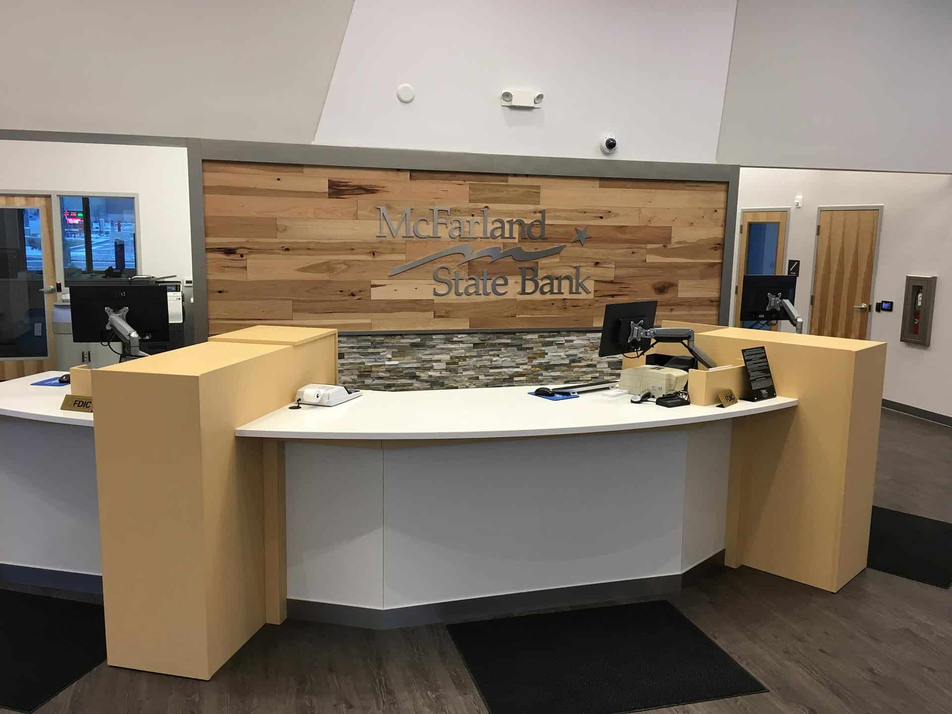McFarland State Bank front entrance desk