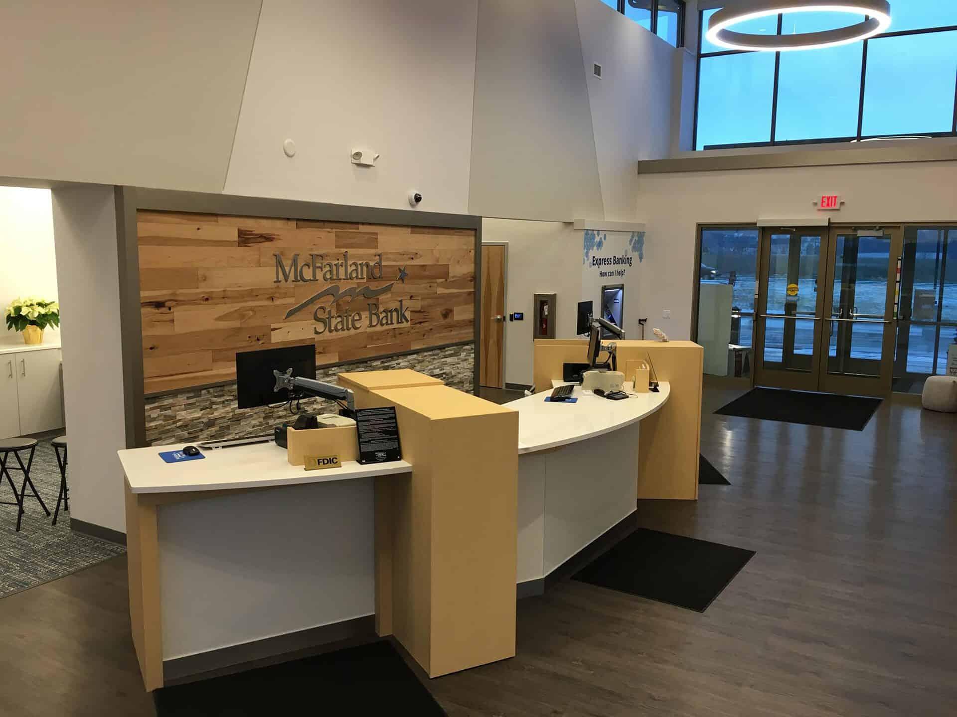 McFarland State Bank front desk